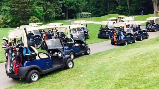 add portable speakers for golf carts to these golf carts
